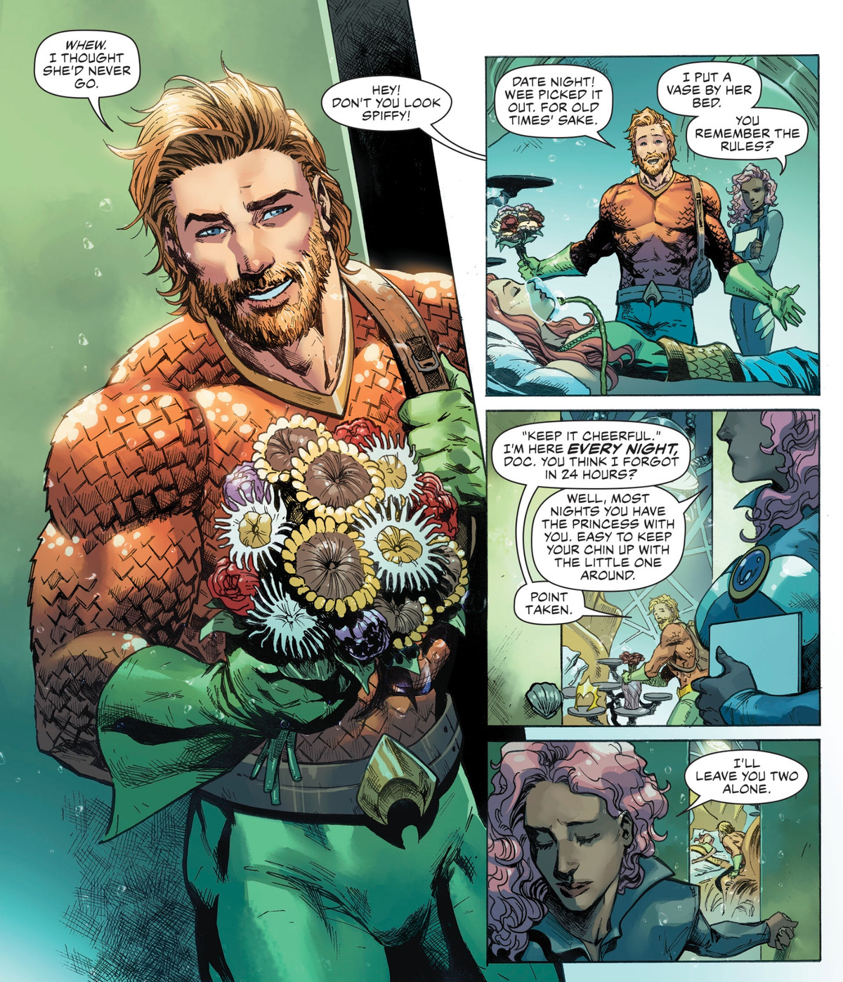 """Aquaman arrives at Mera's bedside with a new haircut and a bouquet of sea anemones for their """"date night,"""" in Aquaman #TK, DC Comics (2020)."""