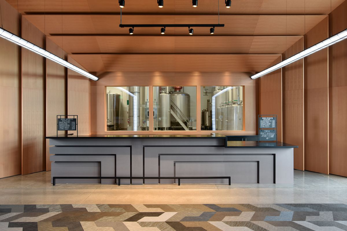 The new tasting room at House Spirits Distillery.