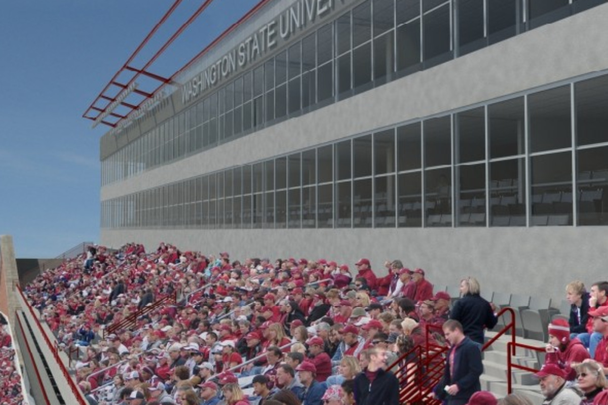 """This is an artist's rendering of what the original """"Phase III"""" project at Martin Stadium might look like. This premium seating will now be located on the south side of the stadium, where the current press box is located."""