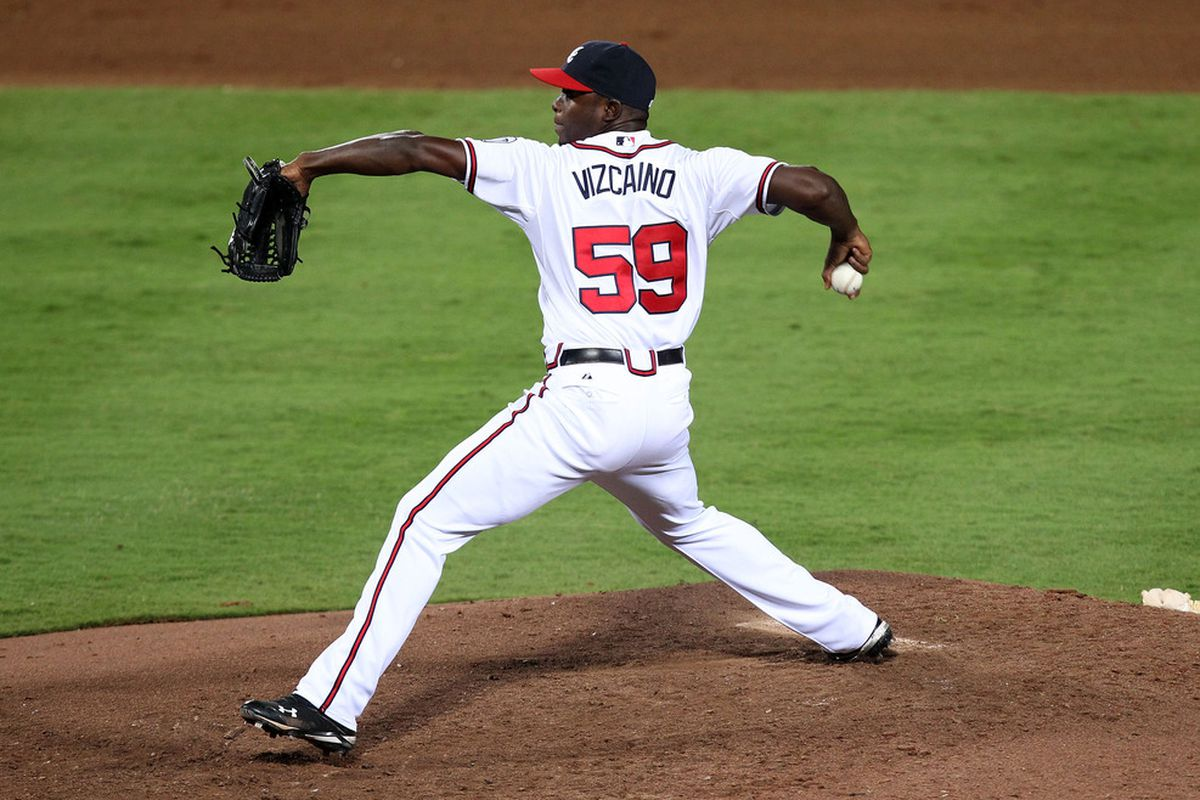 ATLANTA, GA - AUGUST 30:  Pitcher Arodys Vizcaino #59 of the Atlanta Braves throws a pitch during the game against the Washington Nationals during the game at Turner Field on August 30, 2011 in Atlanta, Georgia.  (Photo by Mike Zarrilli/Getty Images)