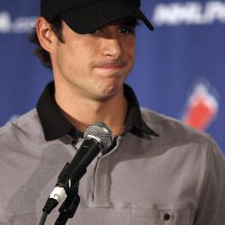 Pittsburgh Penguins hockey player  Sidney Crosby speaks to reporters during a news conference in New York, Thursday, Sept. 13, 2012. With a lockout looking increasingly certain, the NHL players' union meets Thursday followed by an owners' meeting at league headquarters with Commissioner Gary Bettman.