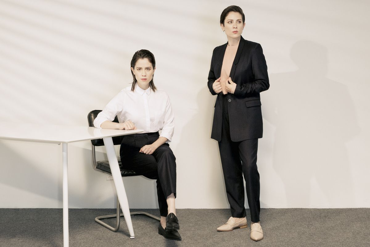 Tegan and Sara in Frank and Oak's new suiting collection