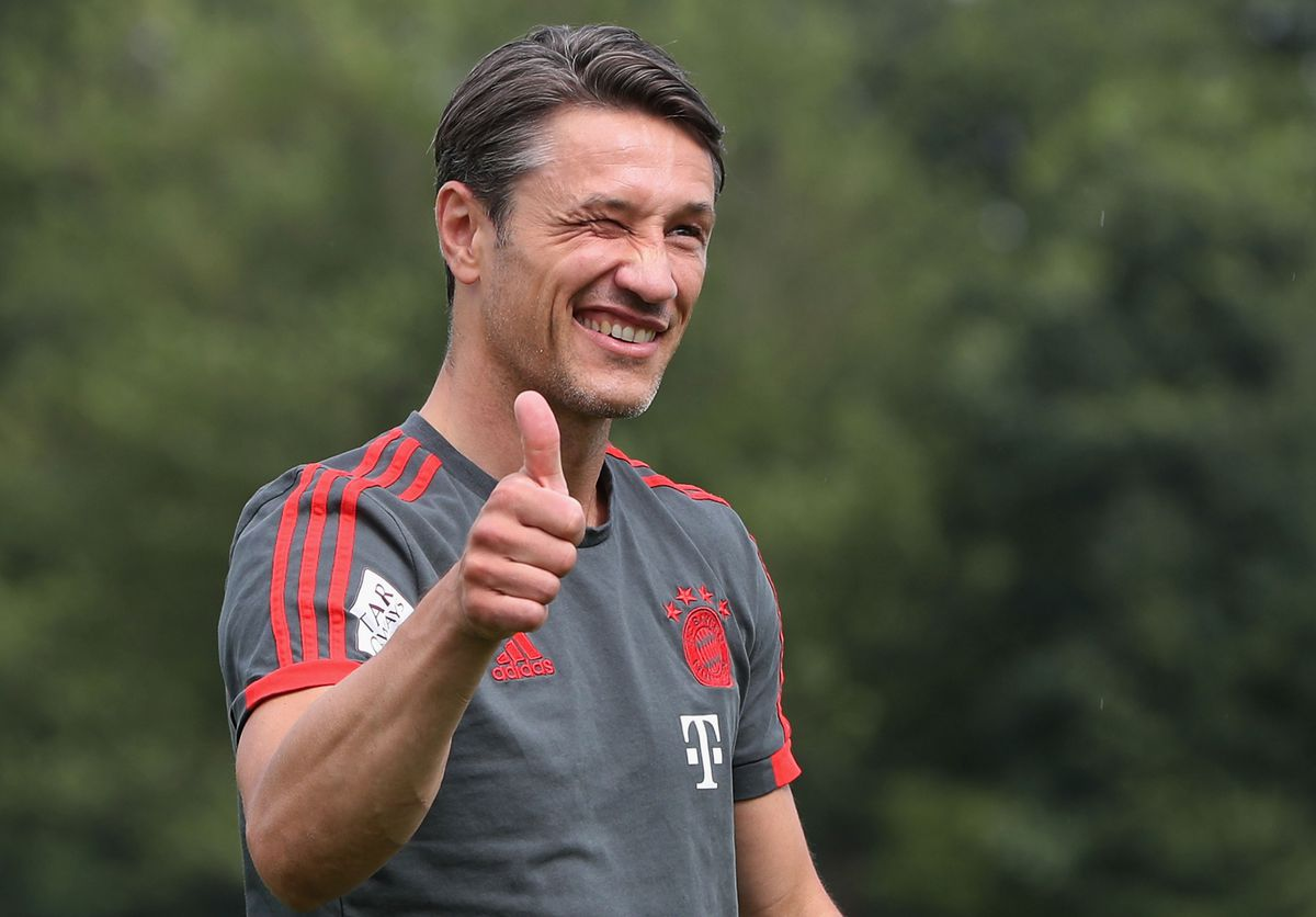 FC Bayern Muenchen - Training Session MUNICH, GERMANY - JULY 04: New team coach Niko Kovac of FC Bayern Muenchen gives a thumb up as he arrives for his first training session at the club's Saebener Strasse training court on July 4, 2018 in Munich, Germany.