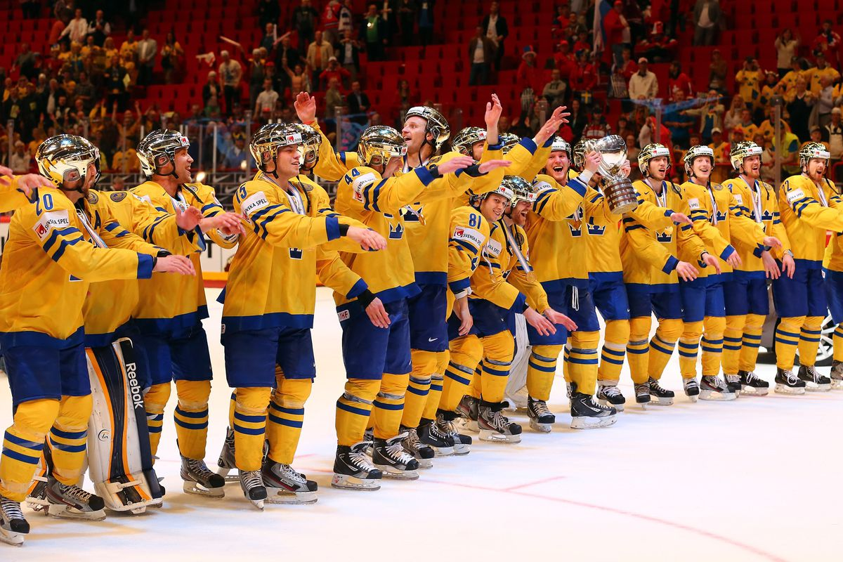 These are happy Swedish hockey players.