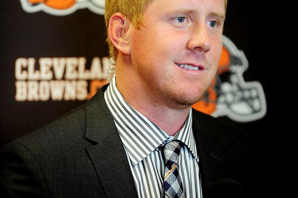 April 27, 2012; Berea, OH, USA; Brandon Weeden addresses the media after being selected as the twenty second over pick in the 2012 NFL Draft at the Cleveland Browns training facility. Mandatory Credit: Andrew Weber-US PRESSWIRE
