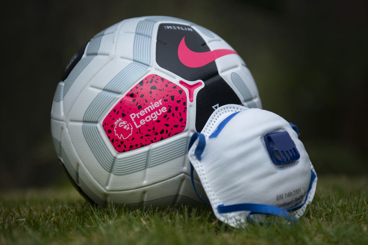 Official Nike Premier League match ball with a Coronavirus Protective Mask