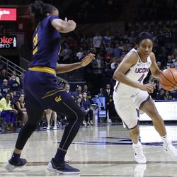 The UConn Huskies take on the California Golden Bears in a women's college basketball game at Gampel Pavilion in Storrs, CT on November 17, 2017.