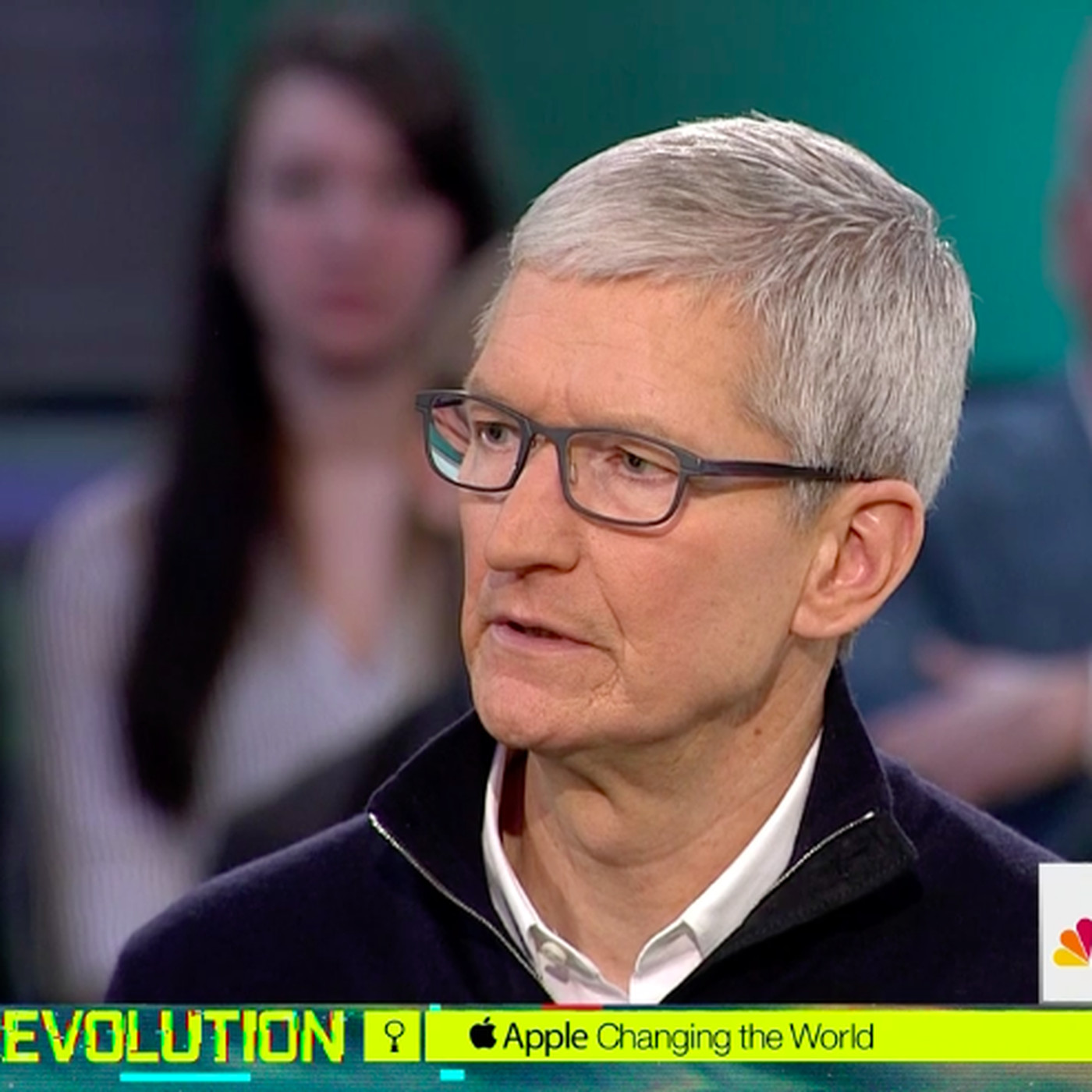 Apple CEO Tim Cook, Recode's Kara Swisher and MSNBC's Chris