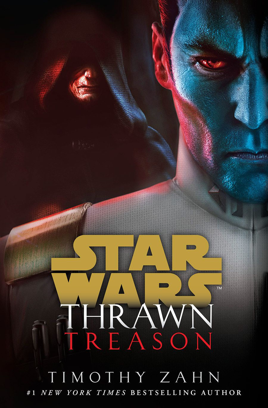 Grand Admiral Thrawn, with Emperor palpating looking over his shoulder.