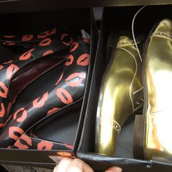 Marc by Marc Jacobs lip-print heels and gold oxfords, both $179 (were $360)