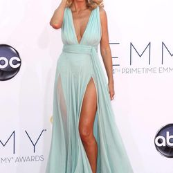 Heidi Klum arrives at the 64th Primetime Emmy Awards at the Nokia Theatre on Sunday, Sept. 23, 2012, in Los Angeles.