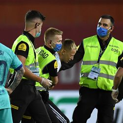 Behind closed doors but still a pitch invader