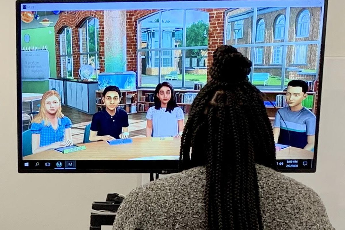 Marian University freshman Treanna McKinney practices leading a class for the first time on Feb. 7, 2020 using a simulation. School leaders said the simulation is a new and unusual approach aimed at providing more frequent practice and training for future teachers.