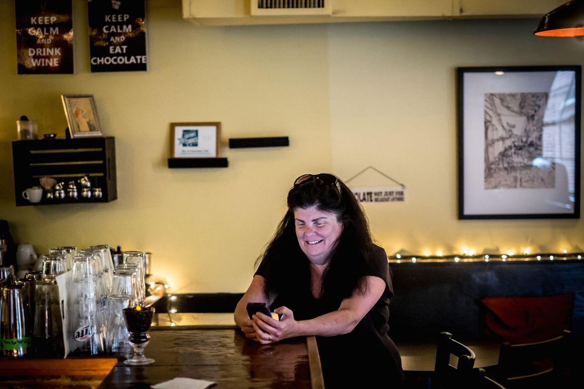 Sarah Martin laughing bar of chocolate john myers