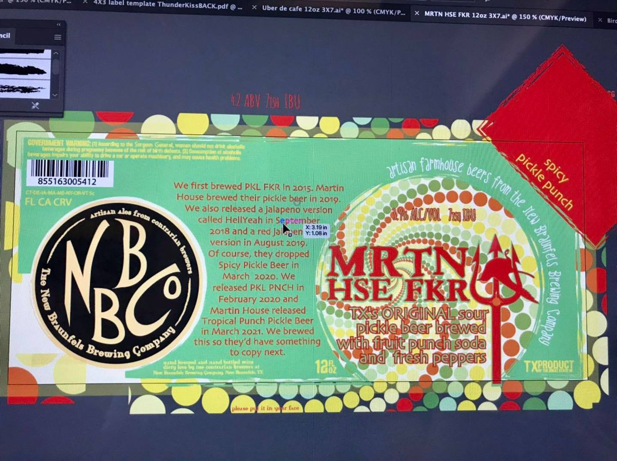 A beer label with bright green background and red text that reads MRTN HSE FKR