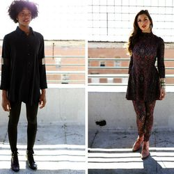 Linden designer Jennifer Lynn (see one of her looks at left) says her latest eco-conscious collection—which includes layered, textured pieces like fish-leather trimmed leggings and silk shirt dresses—was inspired by artist James Turrell and th
