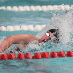 Skyridge's Katelyn Andrist wins the 200-yard freestyle in the 6A girls swim championship at Kearns Oquirrh Park Fitness Center in Kearns on Saturday, Feb. 20, 2021.