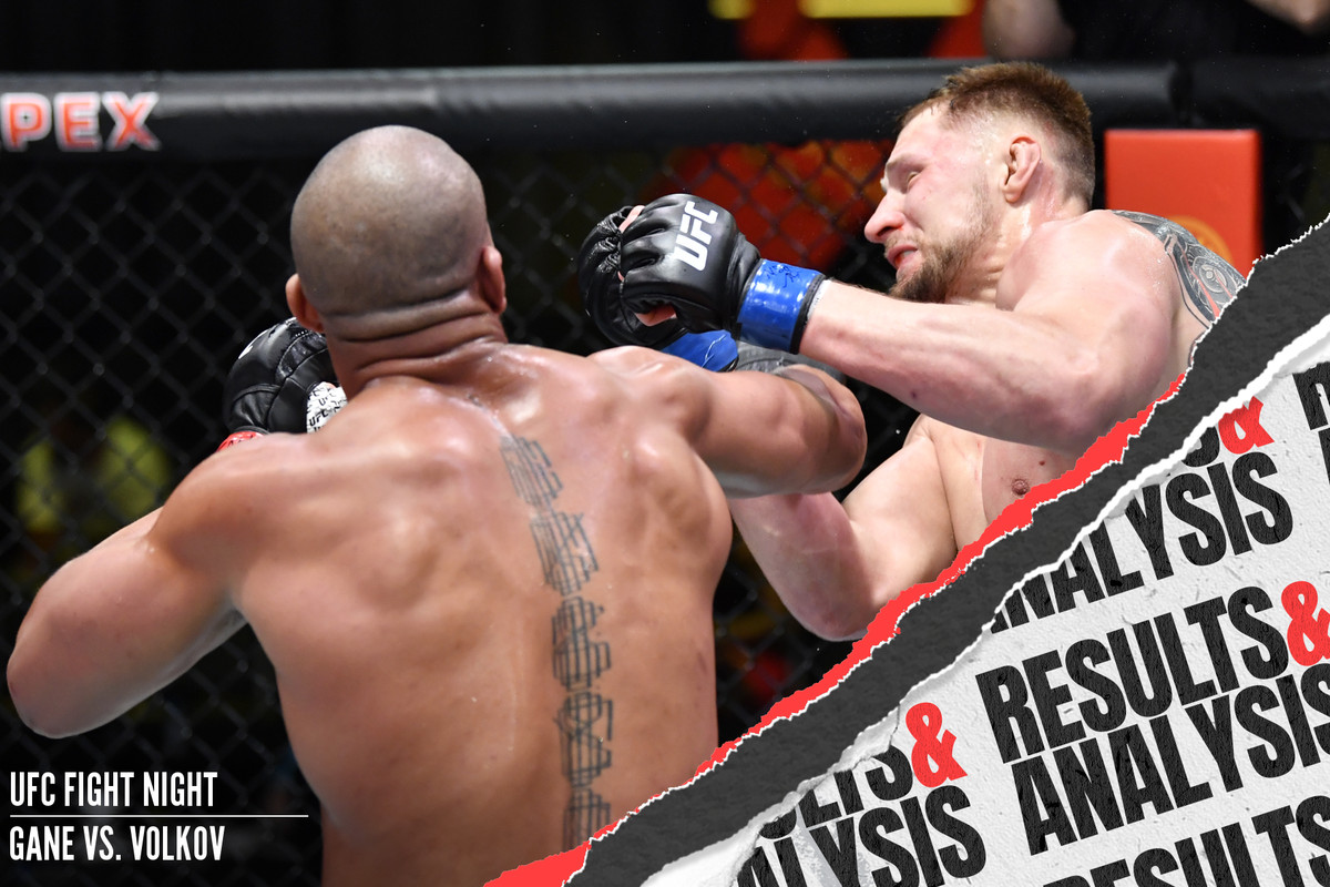 Ciryl Gane punches Alexander Volkov at UFC Vegas 30.