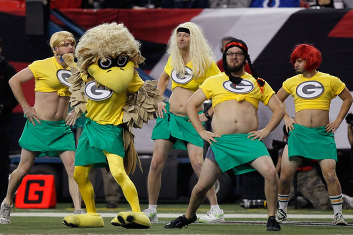ATLANTA - NOVEMBER 28:  Freddie the Falcon mascot of the Atlanta Falcons performs a parody of the cheerleaders for the Green Bay Packers during the game at Georgia Dome on November 28 2010 in Atlanta Georgia.  (Photo by Kevin C. Cox/Getty Images)