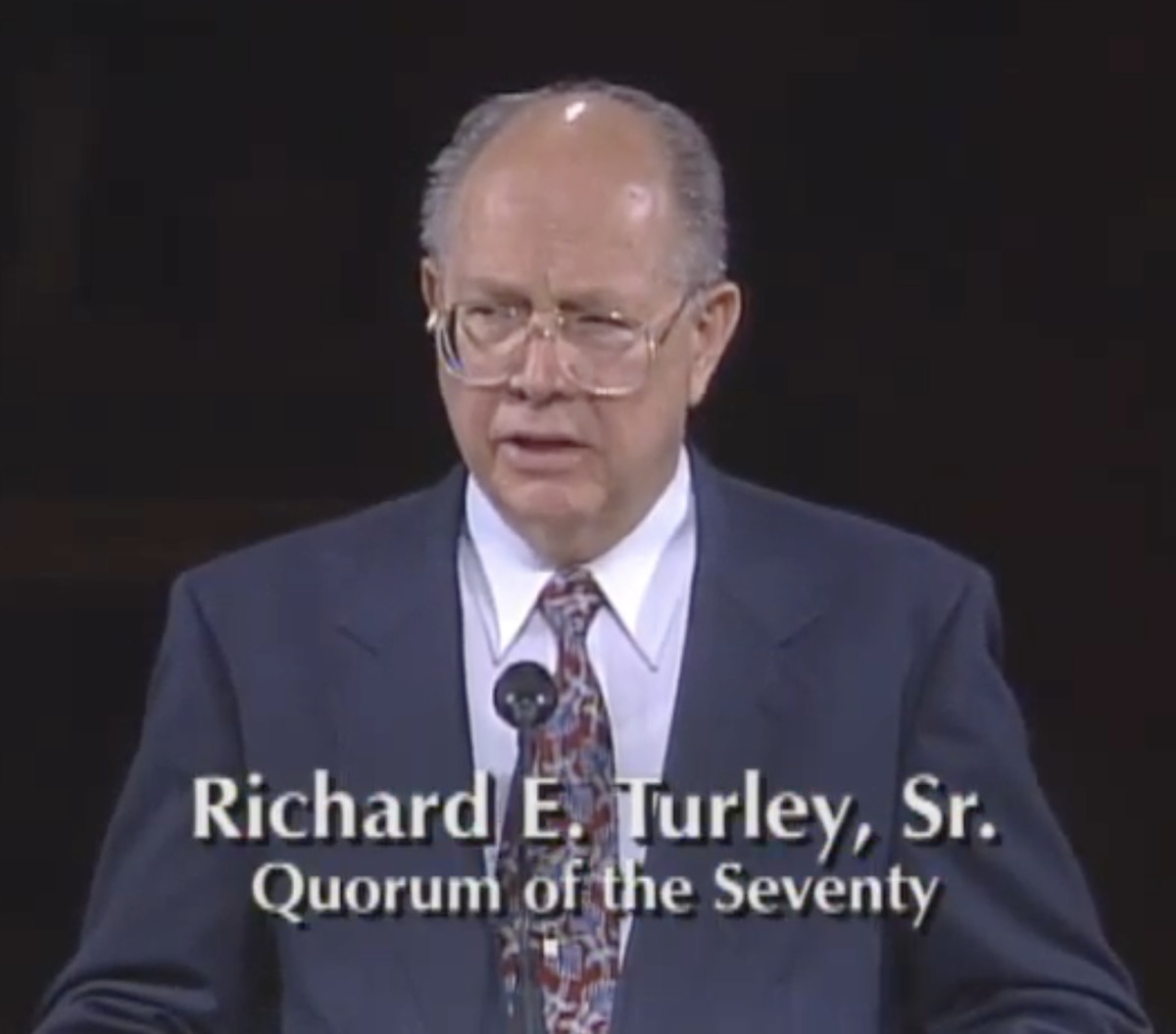 Elder Richard E. Turley, Sr., speaks at a Latter-day Saint general conference in 1998. He died Sunday at age 90.