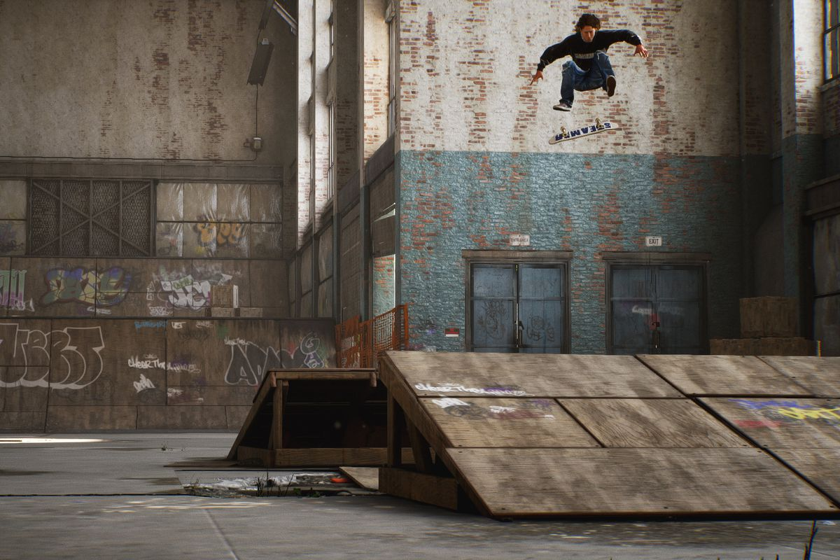 A skater performs a trick in the air in Tony Hawk's Pro Skater 1 and 2