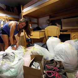 Heather Boland moves into her dorm, which she shares with two roommates, at the University of Utah in Salt Lake City on Thursday, Aug. 17, 2017.