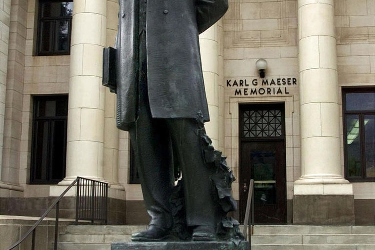 The Karl G. Maeser statue in front of the Karl G. Maeser Memorial Building on BYU campus.