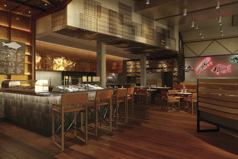 A rendering of a raw bar at The Point