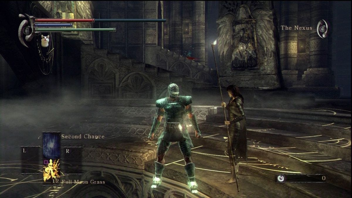 A screenshot of the original Demon's Souls, with the player in the Nexus and the Cat's Ring icon displayed.