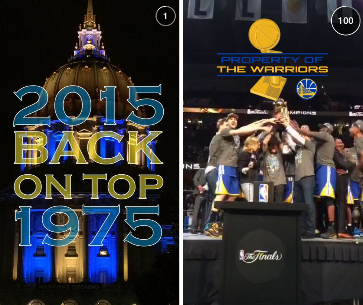 Images from Snapchat's Live Story to celebrate the Golden State Warriors' recent NBA title