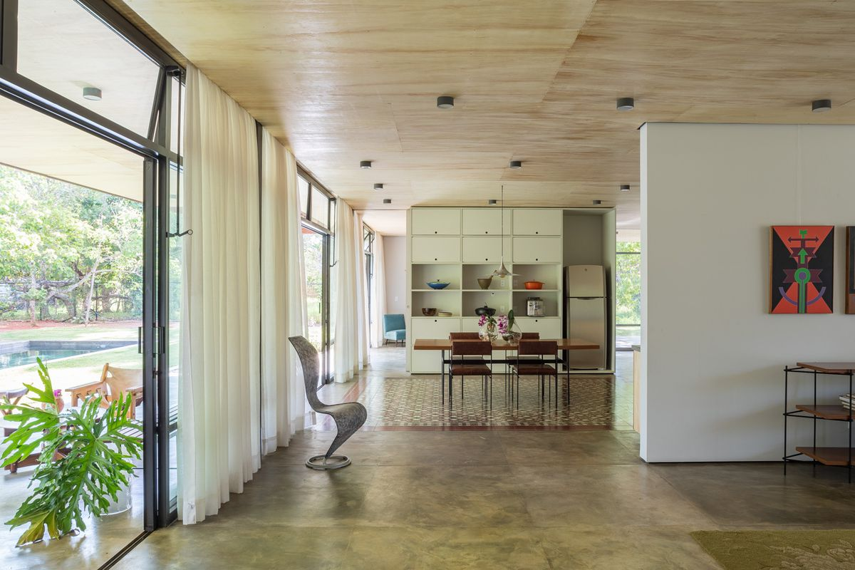 Living room with polished concrete floors