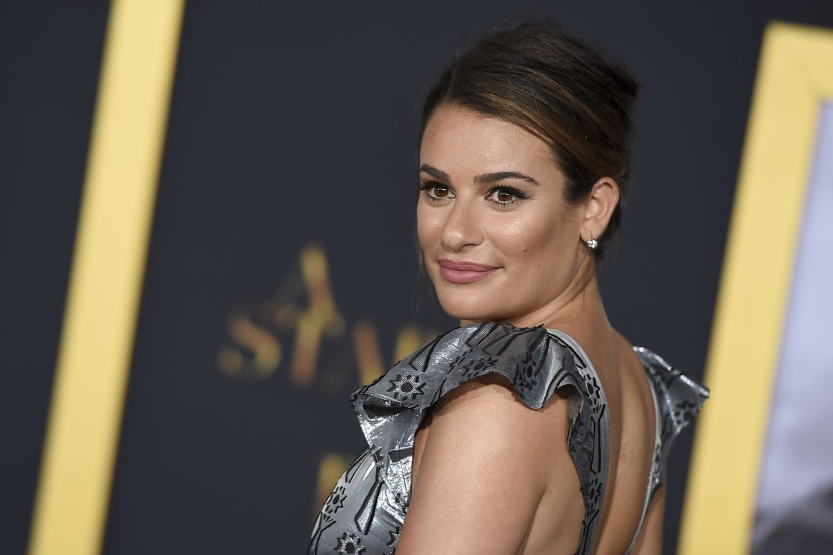 """Lea Michele arrives at the Los Angeles premiere of """"A Star Is Born"""" on Monday, Sept. 24, 2018, at the Shrine Auditorium."""