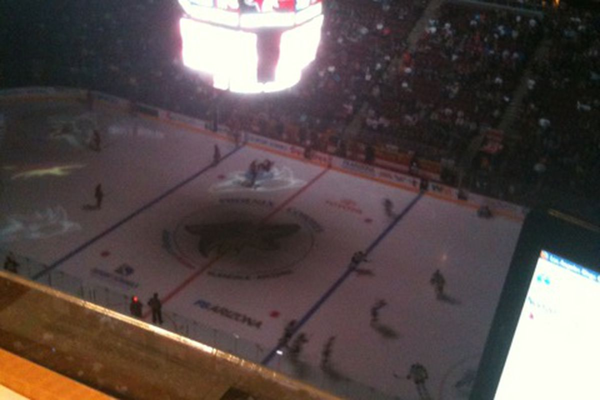 My View From the Press Box (at least at first) for the Kings - Coyotes Game on December 29, 2010.