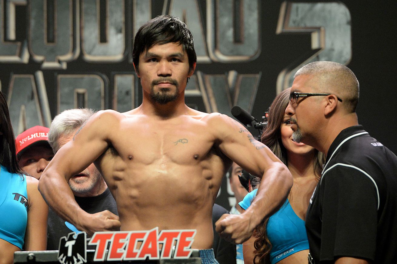 Manny Pacquiao will step on the scale at the Pacquiao vs. Algieri weigh-ins Friday evening.