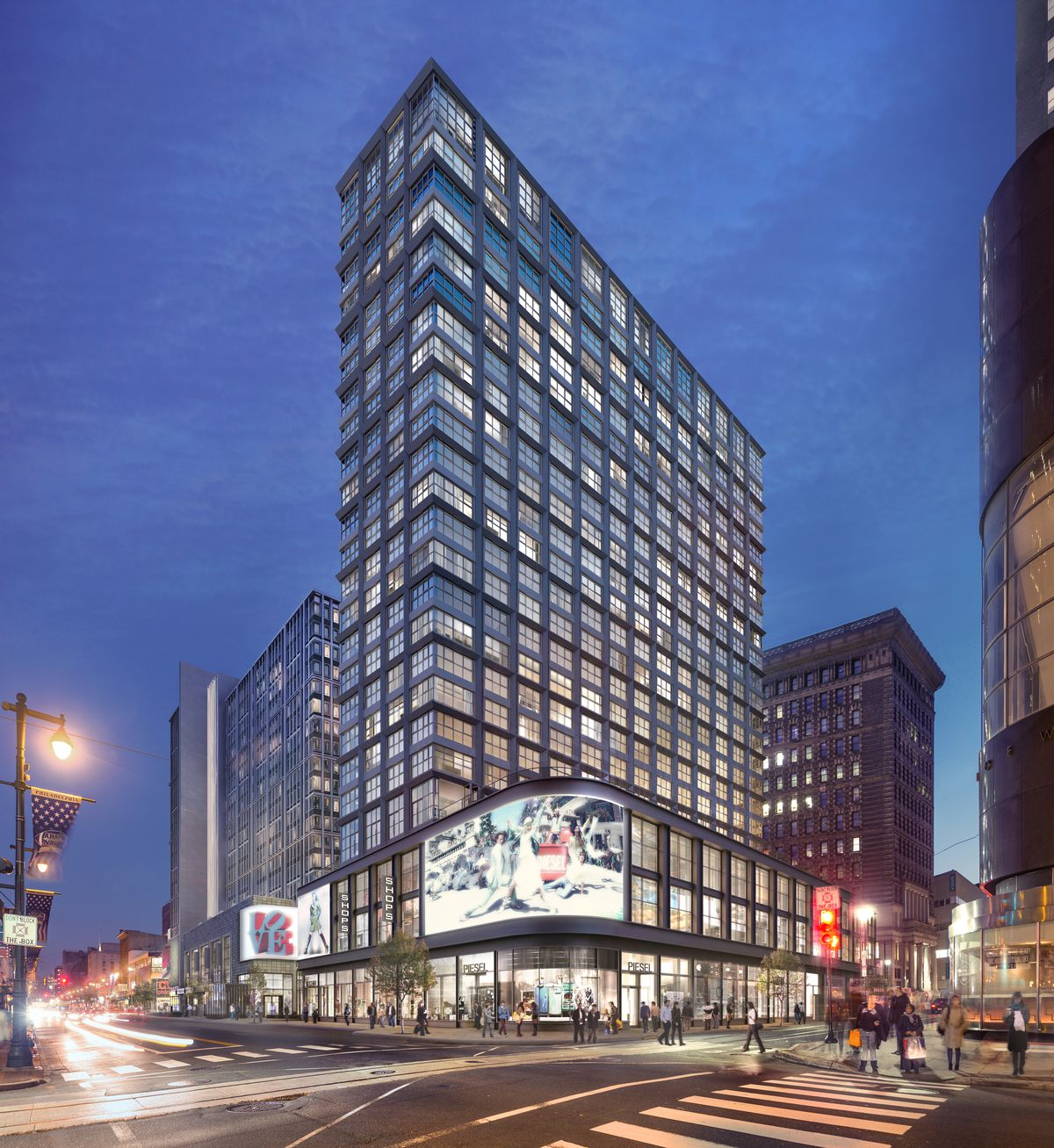 The exterior of 1199 Ludlow Street in Philadelphia. The facade is glass.