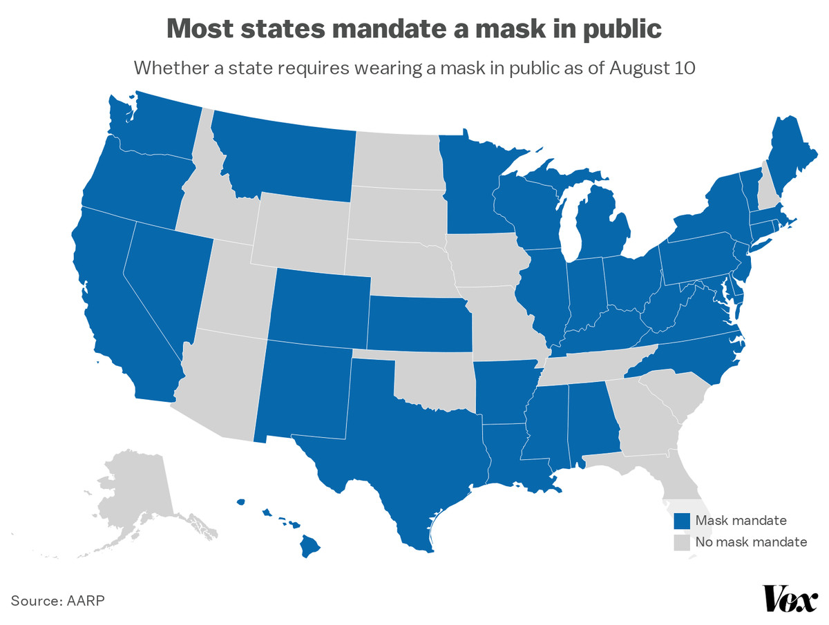 A map of mask mandates in states.