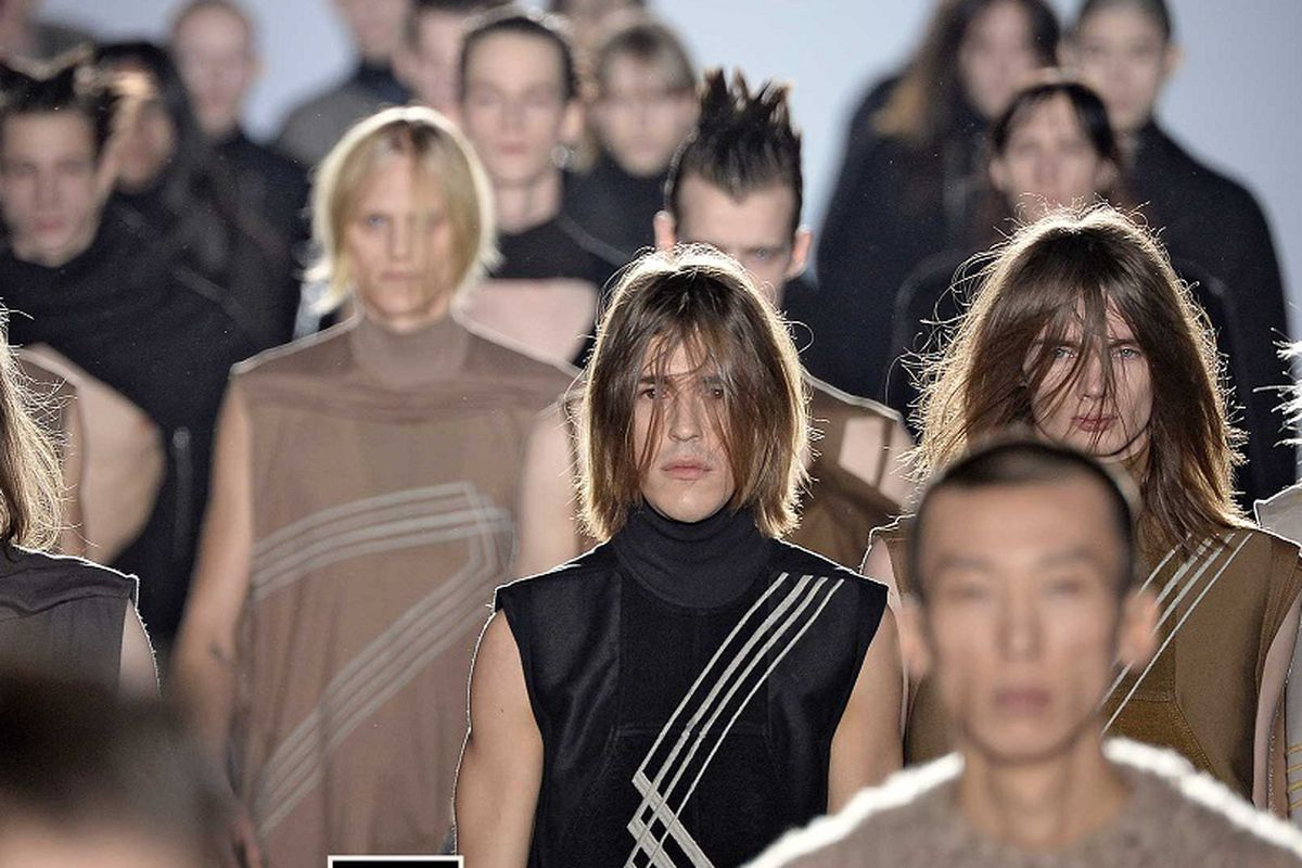 Models walk the runway at the Rick Owens Autumn Winter 2015 fashion show during Paris Menswear Fashion Week on January 22, 2015 in Paris, France.