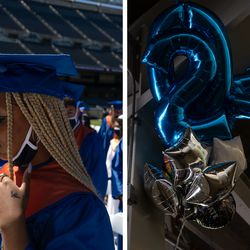 (Left) Mya Cavner, a senior at Whitney M. Young Magnet High School, fixes her cap before the ceremony begins at Soldier Field on Wednesday afternoon. (Right) Many loved ones brought balloons, flowers and stuffed animals to give as gifts for their graduates after the ceremony.