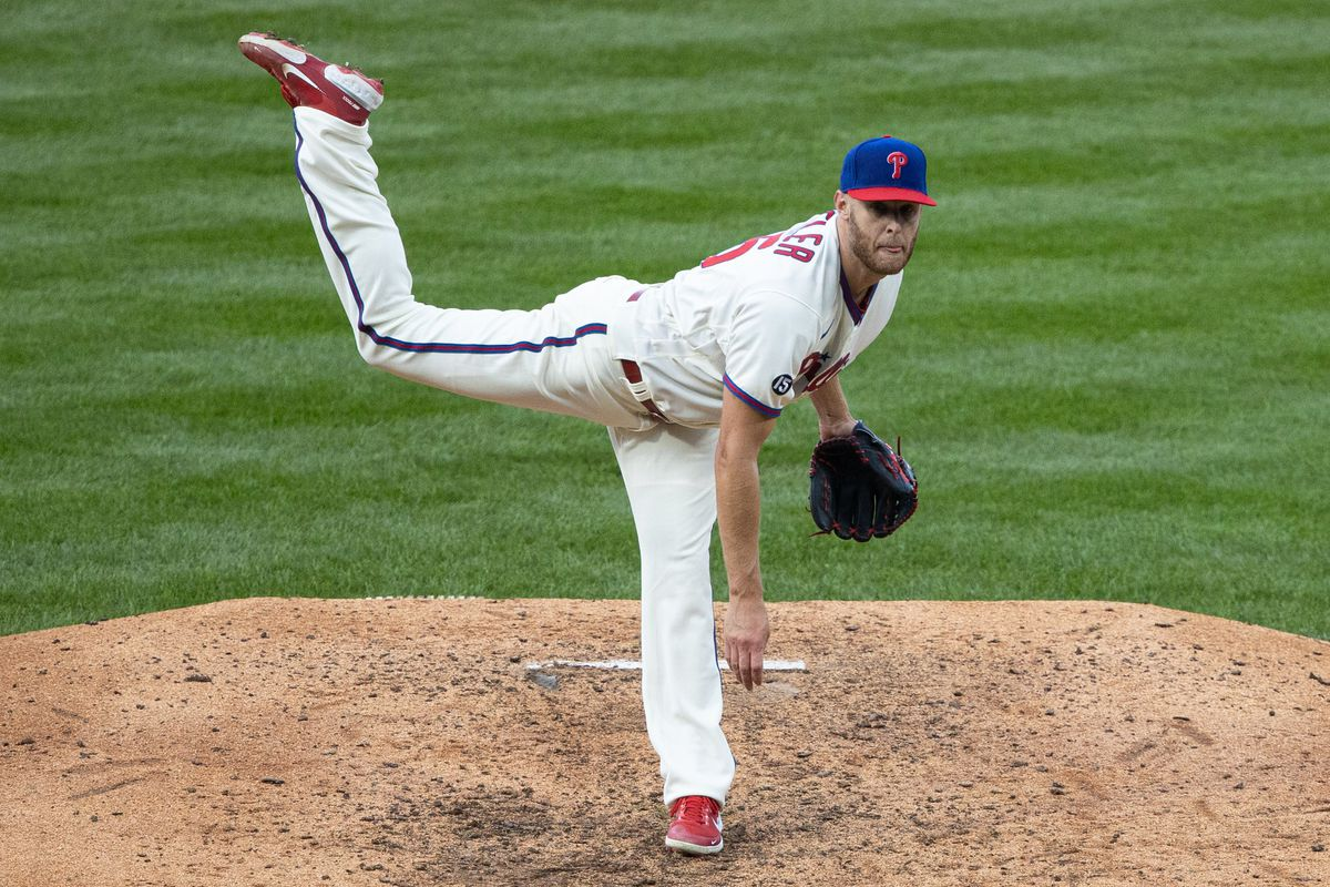 Philadelphia Phillies starting pitcher Zack Wheeler throws a pitch during the seventh inning against the Atlanta Braves at Citizens Bank Park.