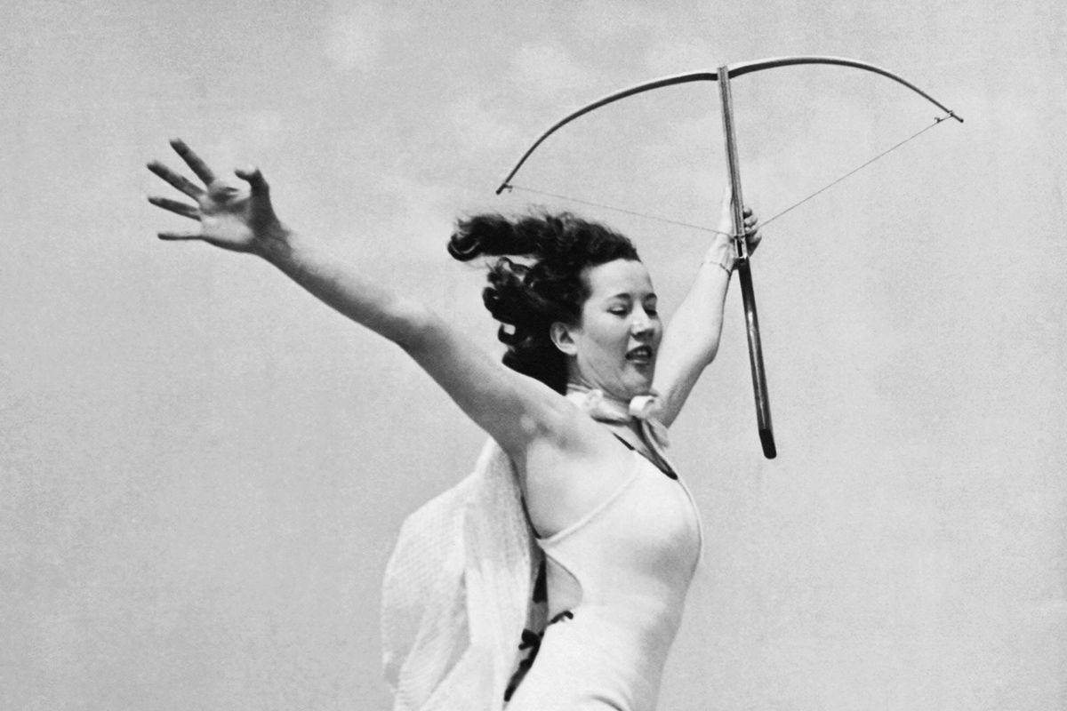 The winner of a crossbow contest  in 1936.