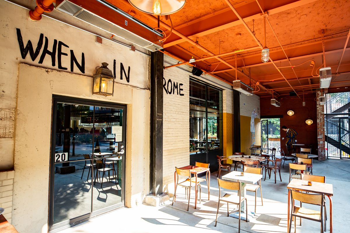 The covered patio at Forza Storico at Westside Provisions District on Atlanta's west side