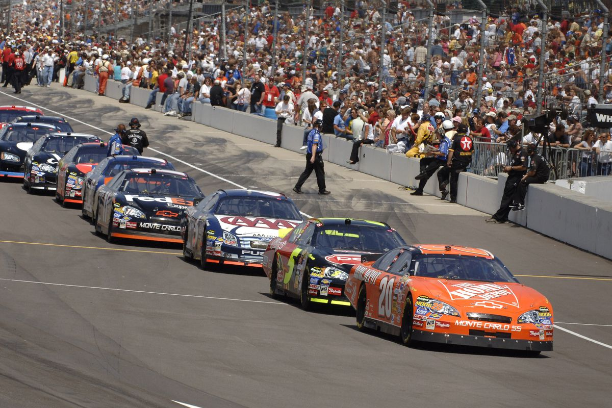 NASCAR drivers line up on pit row during practice for the Allstate 400 at the Indianapolis Motor Speedway in Indianapolis, Indiana on August 5, 2006.