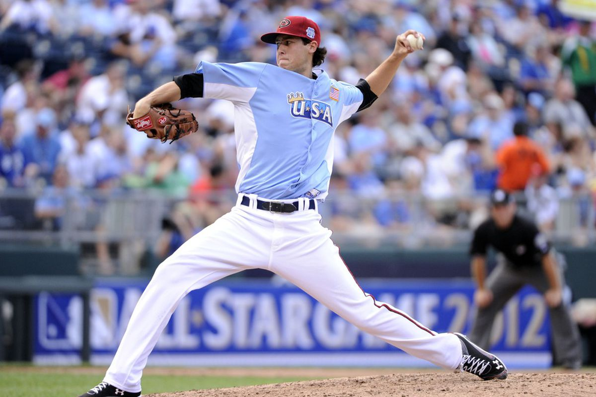 July 8, 2012; Kansas City, MO, USA; USA pitcher Tyler Skaggs throws a pitch during the fifth inning of the 2012 All Star Futures Game at Kauffman Stadium.  Mandatory Credit: H. Darr Beiser-USA TODAY Sports via US PRESSWIRE