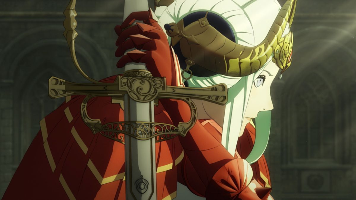 a close-up of a woman holding a sword in Fire Emblem: Three Houses