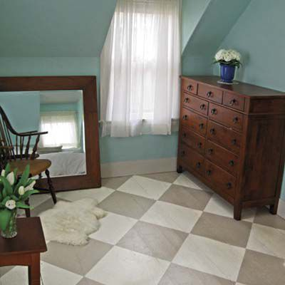 Painted checkered floor.