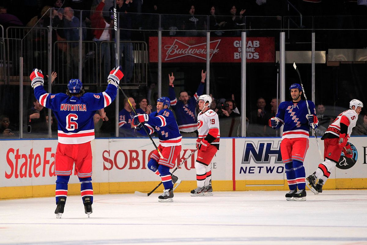 NEW YORK - NOVEMBER 11:  Sean Avery #16 of the New York Rangers celebrates his goal in the first period against the Carolina Hurricanes at Madison Square Garden on November 11, 2011 in New York City.  (Photo by Chris Trotman/Getty Images)