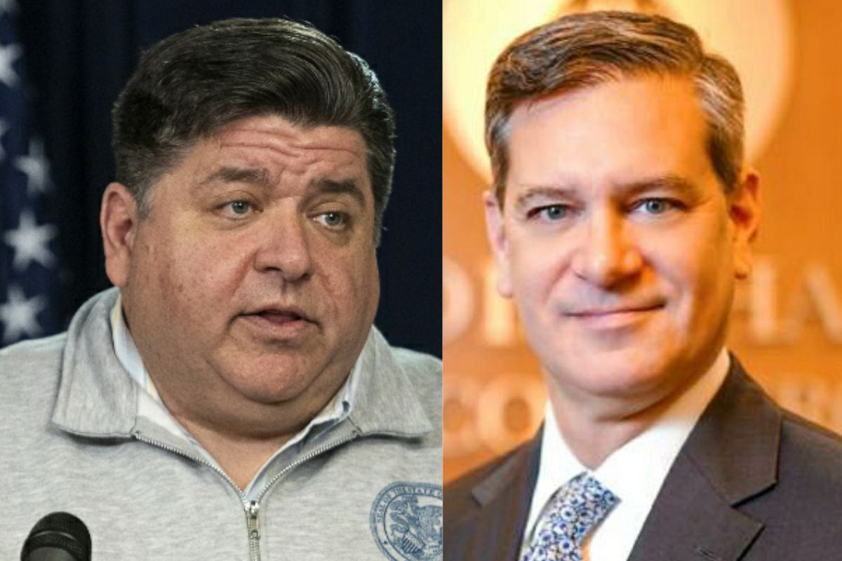 Gov. J.B. Pritzker, left, in March; Todd Maisch, president and CEO of the Illinois Chamber of Commerce, right.