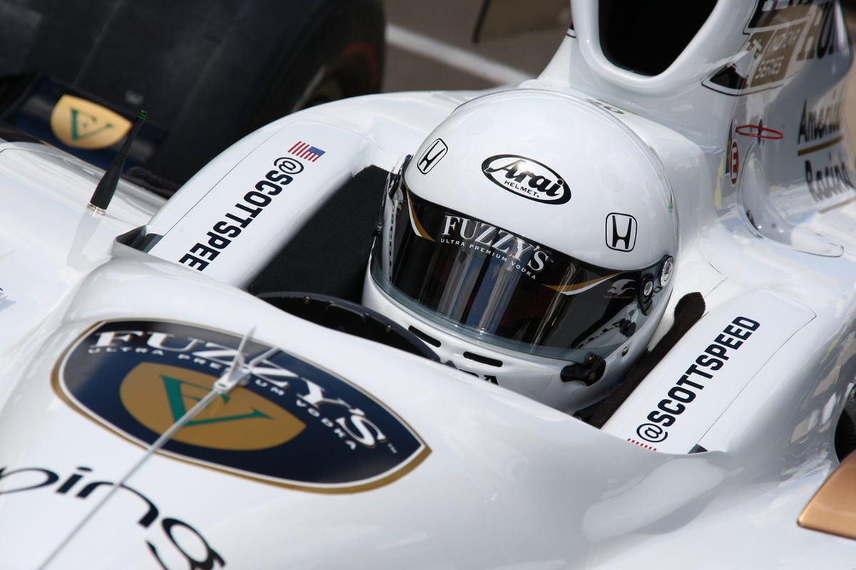 Scott Speed in the cockpit of the #20 Fuzzy's Vodka Dallara for Dragon Racing. (Photo: IndyCar)