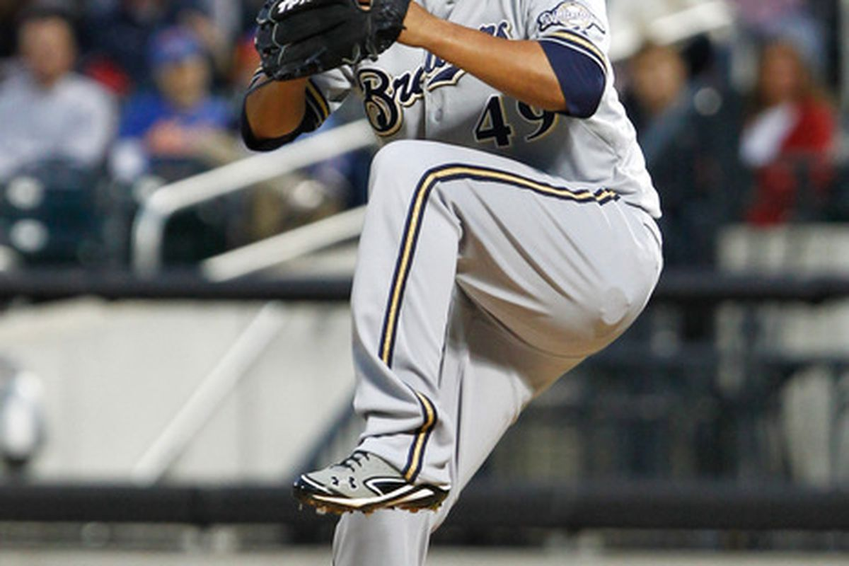 May 14, 2012; Flushing, NY, USA; Milwaukee Brewers starting pitcher Yovani Gallardo (49) pitches during the first inning against the New York Mets at Citi Field. Mandatory Credit: Debby Wong-US PRESSWIRE