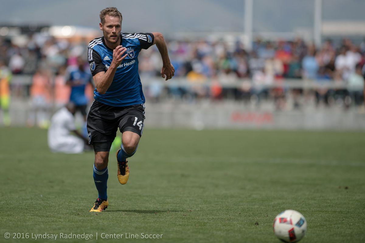 Adam Jahn chases down a ball against Sporting Kansas City
